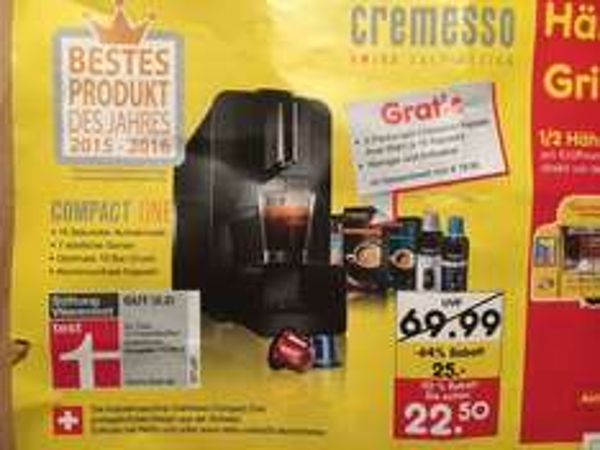 Netto MD (Lokal) Cremesso Compact One + 3 Pck. Kapseln + Reiniger + Entkalker für 22,50 EUR