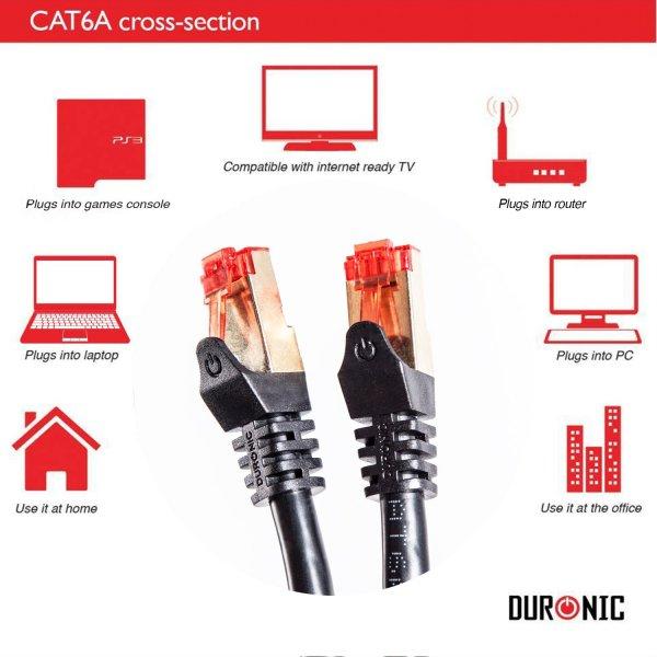 Duronic CAT6a 50m (Schwarz) Ethernet FTP LAN Netzwerkkabel - Doppel geschirmt - 500 MHZ Patchkabel für Switch / Router / Modem / Patch @amazon.de