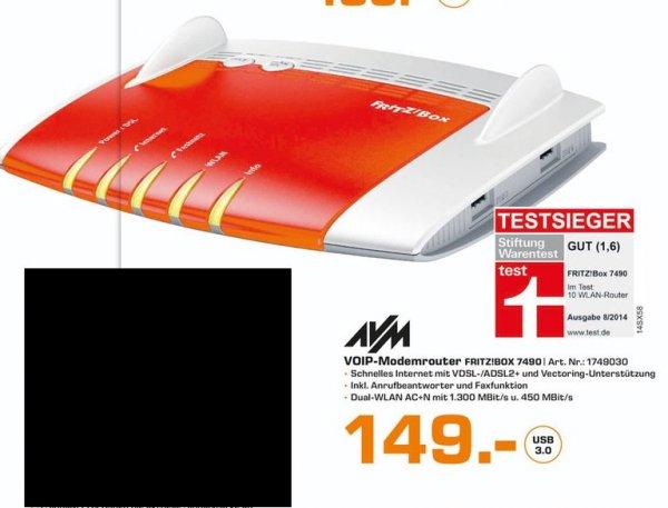 [Lokal Saturn Esslingen und Stuttgart] AVM WLAN Router mit Modem FRITZ!Box 7490 Integriertes Modem: ADSL, ADSL2+, VDSL 2.4 GHz, 5 GHz 1750 für 149,-€