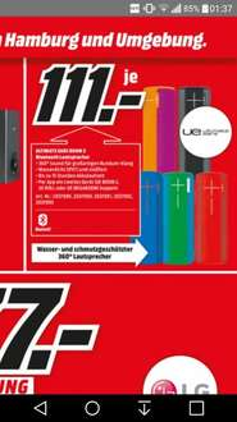 [MM] UE Boom 2 wasserdichter Bluetoothlautsprecher zum Bestpreis!