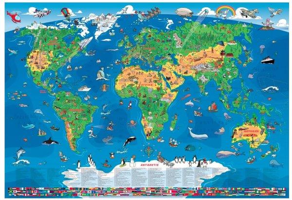 [Amazon] XXXL (1,95 Meter) große Panorama Kinder Weltkarte + gratis Kinderatlas für 12,97€ statt ca. 25€