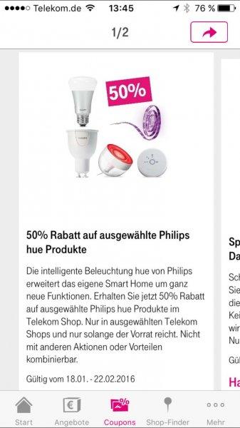 50% auf ausgewählte Philips hue Produkte