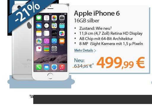 [Rebuy] Iphone 6 16 GB Silber oder space grau - wie neu 502,99€