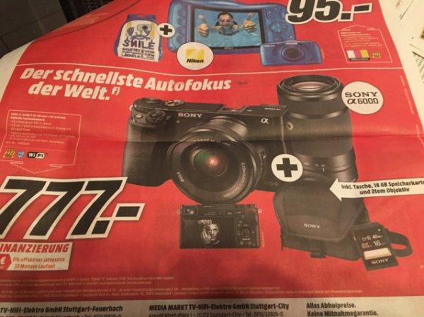Mediamarkt bundesweit: Sony A6000 Kit mit 16-50mm und 55-210mm Objektiven, Taschen und 16GB Speicherkarte