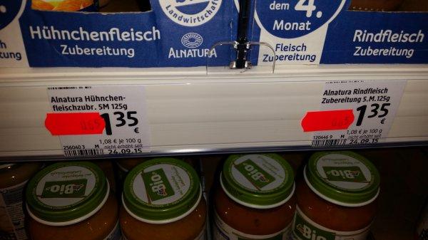 [DM Fürth - evtl. bundesweit] Baby Nahrung Alnatura Hühnchenfleisch und Rindfleisch Zubereitung 0,65€
