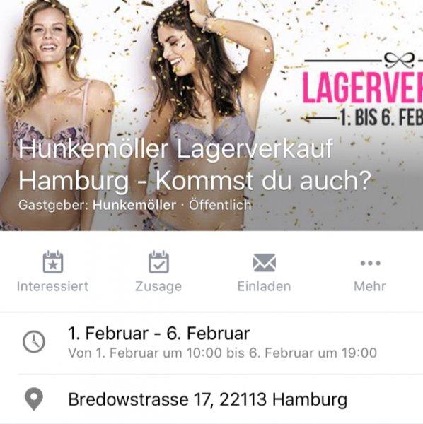 HUNKEMÖLLER Lagerverkauf Hamburg 1 - 6 Feb.
