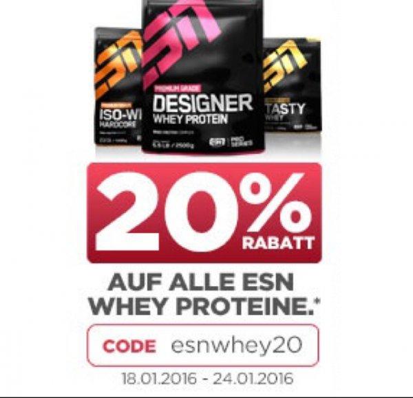20% Rabatt auf Whey Produkte von ESN @fitmart, team-andro