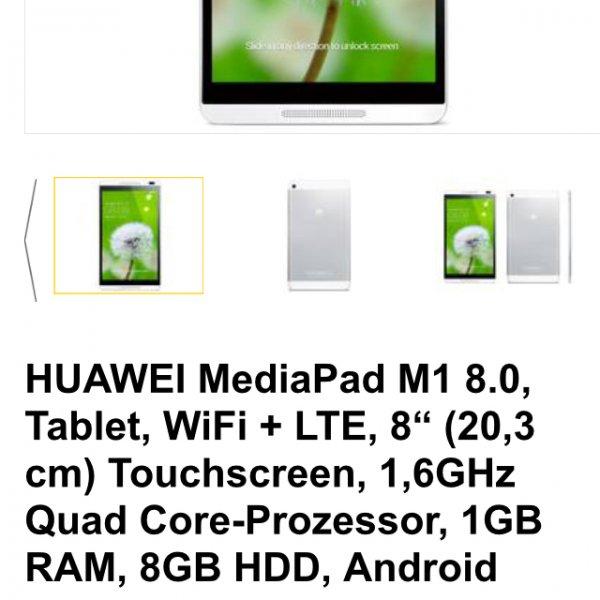 [allyouneed] Huawei Mediapad M1 1,6ghz 1gb RAM, 8gb HDD 8.0 für 99,95€ inkl. Versand (B Ware) Vgp online neu 199€