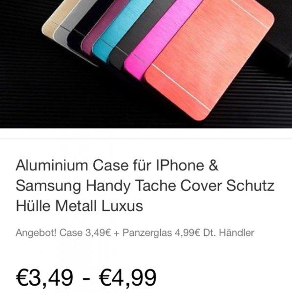 [ebay] Panzerglas 9H inkl. Aluminium Handyhülle für 4,99€ inkl. Versand für iPhone 4,5,6,6+ und Samsung s4,s5,s6,s6 Edge und + ,deutscher Händler