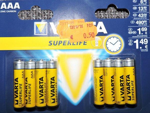 [Lokal KIK Markdorf] 8x Varta Superlife AAA Batterien für 0,50€