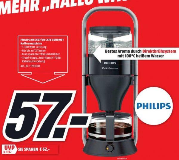 [Lokal Mediamarkt Stade] Philips HD5407/60 Kaffeemaschine Cafe Gourmet (Direkt-Brühprinzip, Abschaltautomatik), 1 l Wassertank, schwarz  für 57,-€