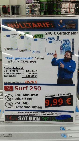 [LOKAL] Vodafone Tarif 250Mb oder Freiminuten/SMS effektiv 1,24€ pro Monat