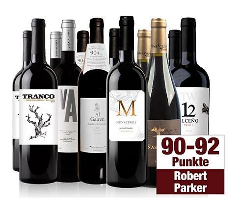 Plus.de: 12er Probier-Paket Rotwein, 6*2 Flaschen, mind. 90 Parker Punkte, 59,95 (=5€/Flasche)