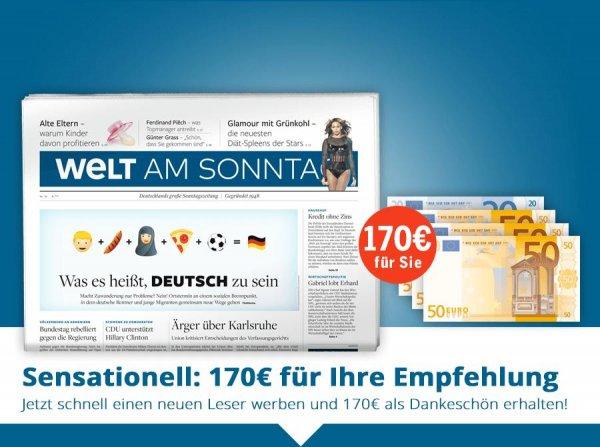 Welt am Sonntag | WAMS | 1 Jahr für rechnerisch 32,80 EUR | 170 EUR Verrechnungsscheck