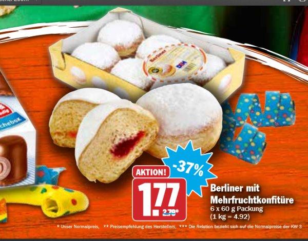 6 Berliner,Krapfen,Kreppel,oder Pfannkuchen mit Mehrfruchtfüllung  für 1,77€ bei Hit