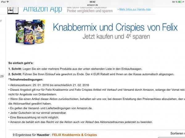 Amazon 4 Euro Rabatt auf Felix Leckerlys Knabber Mix Crispies