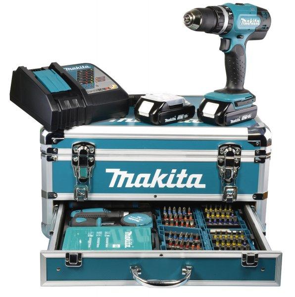 Makita Akku-Schlagbohrschrauber 18 V / 1,5 Ah im Alukoffer inklusive 96-teilig Zubehörset