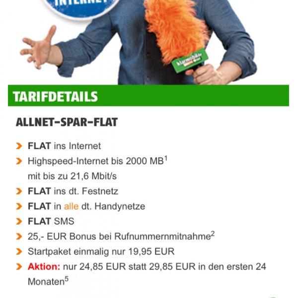 [klarmobil] Allnet-Spar-Flat (allnet-flat, sms flat, 2gb Datenvolumen) im o2 Netz für 24,85€/ Monat
