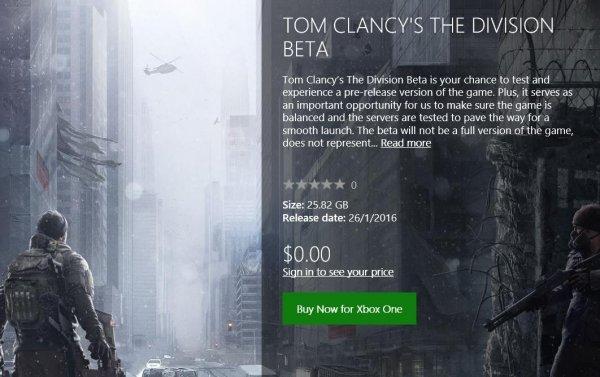 [Xbox ONE] The Division BETA - Ohne Anmeldung über Xbox Singapur