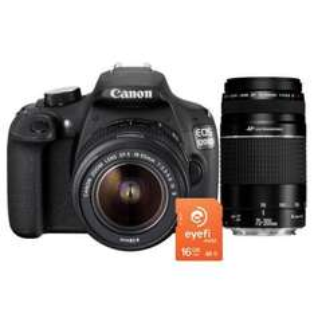 [redcoon] Canon EOS 1200D mit 2x Objektiven (EF-S18-55 DC III+75-300 III USM)  + 16 GB Eyefi SDHC Class 10 für 444€