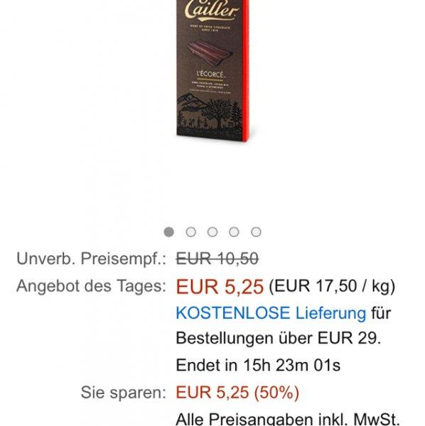 Cailler L'Ecorce, Zartbitterschokolade 84 Prozent Kakao, Floral und Bittersüß, 3 Tafeln (3 x 100 g)  für 8,25€ inkl. Versand ... 50% Rabatt .. Nur noch 15 Stunden