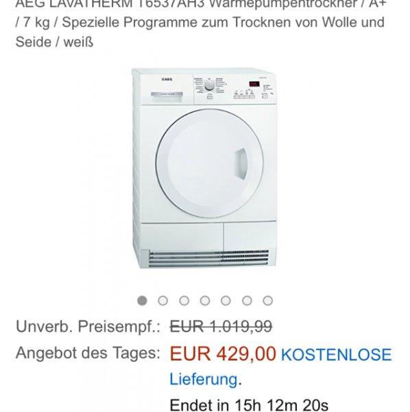 [anazon] AEG LAVATHERM T6537AH3 Wärmepumpentrockner / A+ / 7 kg / Spezielle Programme zum Trocknen von Wolle und Seide / weiß 429€ inkl. Versand ... Vgp 498,99€