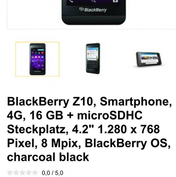 "[allyouneed] BlackBerry Z10, Smartphone, 4G, 16 GB + microSDHC Steckplatz, 4.2"" 1.280 x 768 Pixel, 8 Mpix, BlackBerry OS, charcoal black für 99€ inkl. Versandkosten (Demoware) Vgp bei idealo 185€"