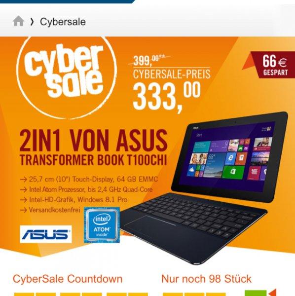 [cyberport] Asus Transformer Book T100CHI-FG003P 2in1 Notebook Tablet Z3775 Windows 8.1 Pro für 333€ inkl. Versandkosten  Vgp 393€