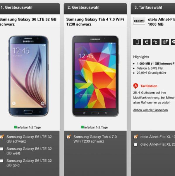 [handyflash] otelo Allnet-Flat XL (Allnet-Flat, SMS-Flat, 1GB Datenvolumen) inkl. Samsungs Galaxy S6 (32GB) + Samsung Galaxy Tab 4 (7?) für 29,99€ / Monat