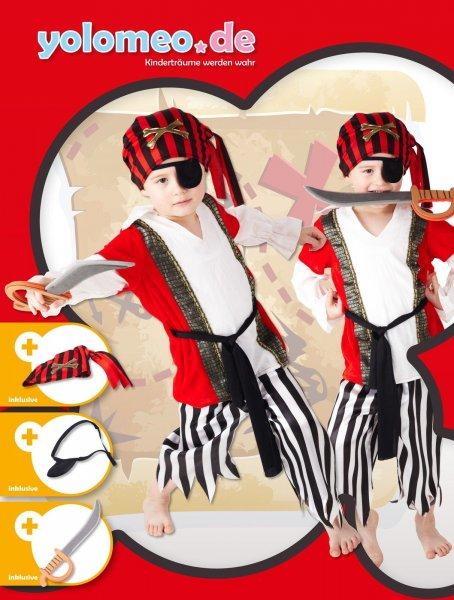 YOLOMEO Kinder-Piratenkostümset aus Hemd mit Jacke, Hose, Augenklappe und Kopftuch inkl. Säbel statt 29,99 jetzt 22,65 Euro @ebay