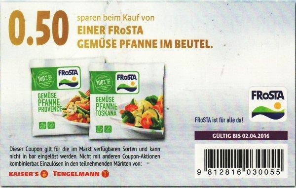 Kaiser's Tengelmann: Frosta Gemüsepfanne 400 Gramm für 1,99 Euro (mit Coupon 1,49 Euro) bis 30.01.2016