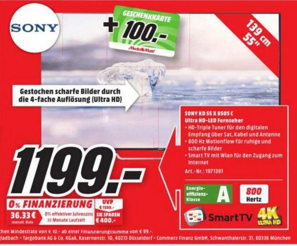 (Lokal) SONY KD55X8505 CBAEP für 1199€ (+100€ Gutschein)@ Mediamarkt Herzogenrath