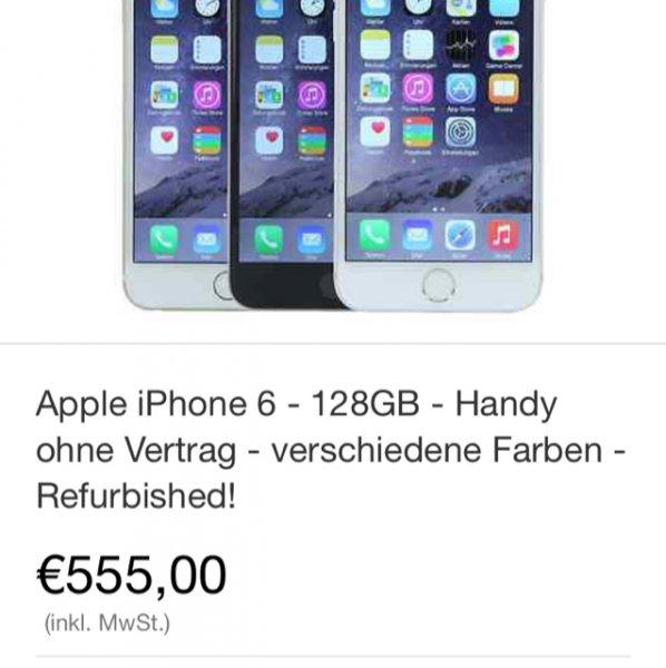 [ebay Wow] Apple iPhone 6 – 128GB – Handy ohne Vertrag – verschiedene Farben – Refurbished  für 555€ (Vergleichspreis Neu ~719€)