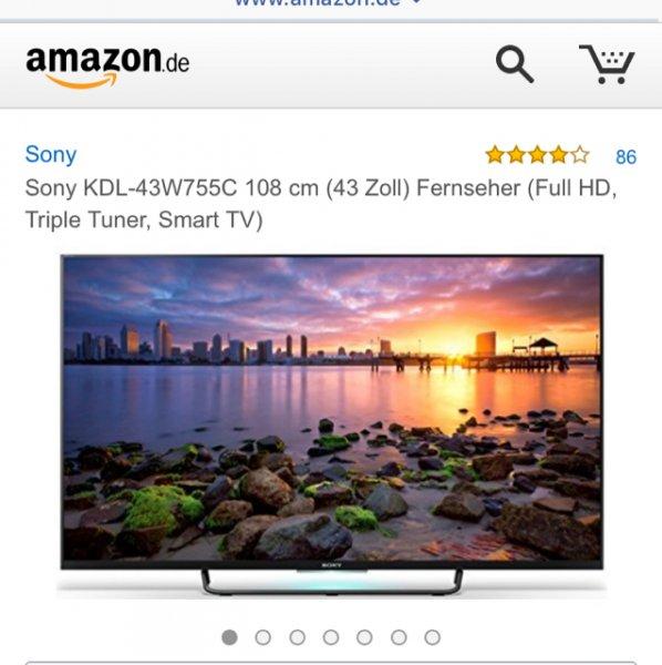 [amazon] Sony KDL-43W755C 108 cm (43 Zoll) Fernseher (Full HD, Triple Tuner, Smart TV)  für 549€ (Vergleichspreis idealo: ~630€) Ersparnis ~81€