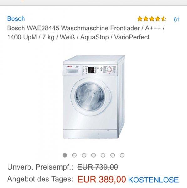 [amazon] Bosch WAE28445 Waschmaschine Frontlader / A+++ / 1400 UpM / 7 kg / Weiß / AquaStop / VarioPerfect  für 389€ inkl. Versand  (Vergleichspreis idealo: 473€) Ersparnis ~84€