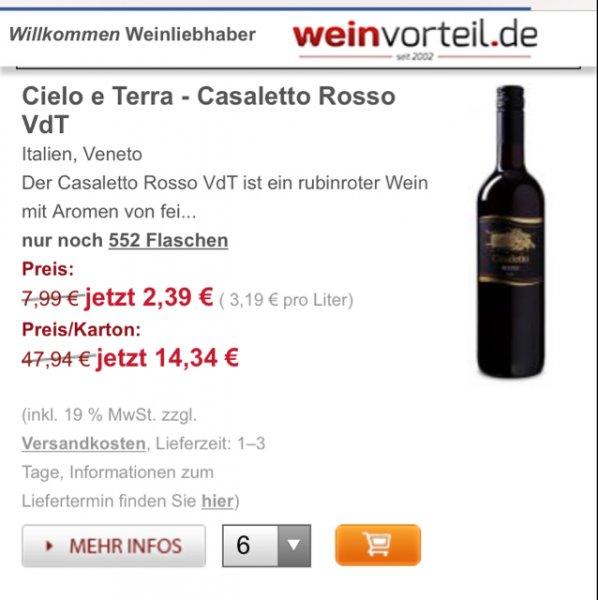 [Weinvorteil] 6 Falschen Cielo e Terra Casaletto Rosso VdT (Rotwein) alternativ auch Weißwein für 19,29€ inkl Versand
