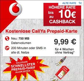 Vodafone CallYa Smartphone Special bis zu 10 € Cashback auf Qipu d.h. effektiv die ersten 3 Monate für insgesamt 19,97 € statt 29,97 €