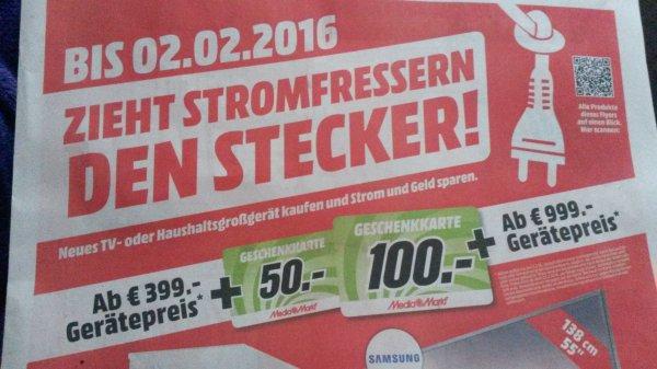 MediaMarkt Gutscheinkarte für Kauf von TV- oder Haushaltsgroßgerät (ab 399 € - 50 € / ab 999 € 100 € Gutschein)