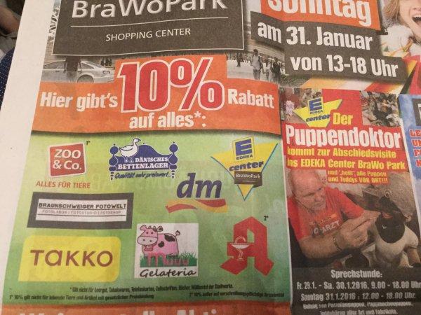 10% bei DM, E Center, Takko, Dänisches Bettenlager u.a. Lokal Braunschweig