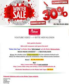 Rieker Sale Winter Schuh Aktion 29./30./31.01.2016