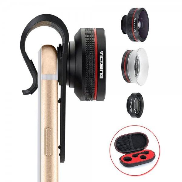 Smartphone Objektive - Clip-On Fisheye Fischauge Objektiv + 12X Makro Objektiv + 24X Super-Makro-Objektiv 3 in 1 Kamera Adapter Kit