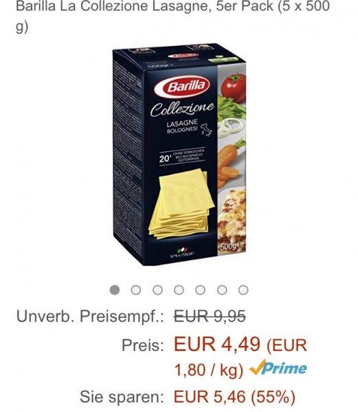 WIEDER AUF LAGER Amazon Prime Barilla La Collezione Lasagne, 5er Pack (5 x 500 g)