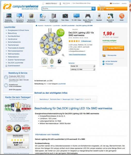 DeLOCK Lighting G4 LED Nr. 46129 für nur 1,99€ / Stück zzgl. 4,99€ Versand
