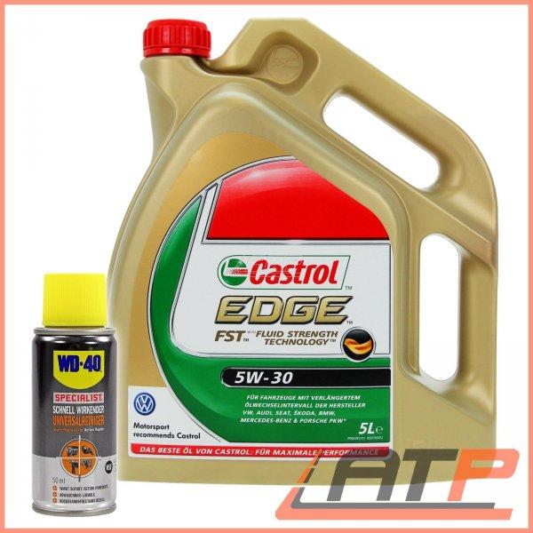 WOW Angebot 5 L CASTROL EDGE FST™ 5W-30 MOTOR-ÖL+ 1x 50ml WD-40 SPECIALIST ATP