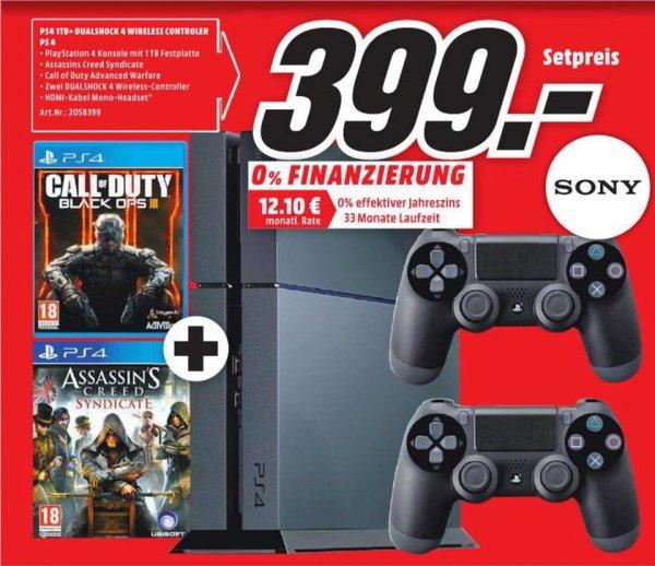[Lokal Mediamarkt Magdeburg] PS4 1TB + 2 Controller + COD Black Ops 3 + AC Syndicate für 399,-€