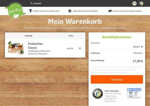 Hello Fresh Probierbox - Classic für 9,99 statt 44,99€