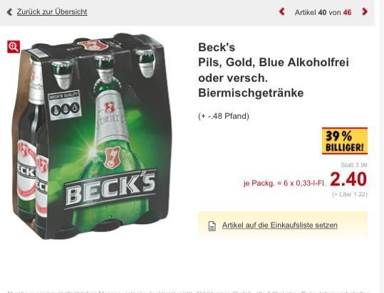 [Kaufland Frankfurt Main und München] Beck's 6x0,33 verschiedene Sorten für 2,40