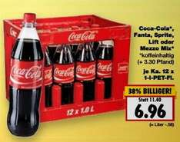 Montag: Coca Cola Kasten 12 X 1l 6,96€ [Kaufland]