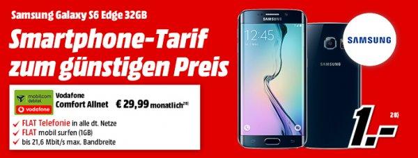 [Media Markt] Samsung Galaxy S6 Edge 32GB mit comfort Allnet Vodafone, Telefonie-Flat, 1GB Datenvolumen, 29,99€/mtl., 1€ Zuzahlung