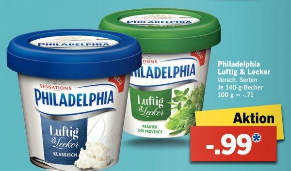 [LIDL] KW05: Philadelphia Luftig & Lecker 140g versch. Sorten für 0,49€ (Angebot+Scondoo) [Limitiert:10x/Account]